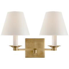 Evans Double Arm Sconce in Natural Brass with Percale Shade