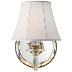 Aymeline Single Sconce in Butler's Silver with Silk Shade