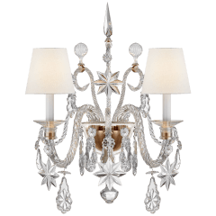Alexandra Large Sconce in Crystal Glass and Natural Brass with Linen Shades