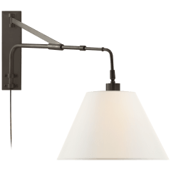 Brompton Extension Swing Arm in Bronze with Linen Shade