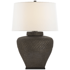Isla Small Table Lamp in Crystal Bronze Ceramic with Linen Shade