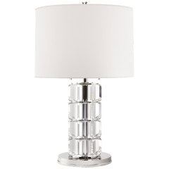 Brookings Large Table Lamp in Crystal and Polished Nickel with White Paper Shade
