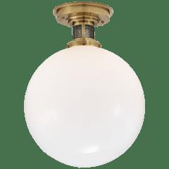 McCarren Medium Flush Mount in Natural Brass with White Glass