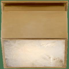 "Ellis 5"" Solitaire Flush Mount in Natural Brass and Natural Quartz"