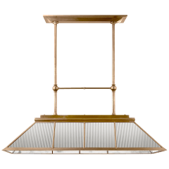 Rivington Large Billiard Chandelier in Natural Brass with Clear Ribbed Glass