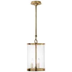 Modern Small Lantern in Natural Brass
