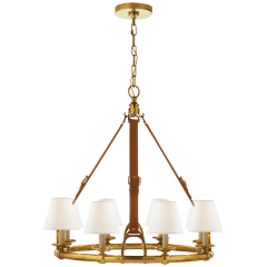 Westbury Chandelier in Natural Brass and Saddle Leather with Linen Shades