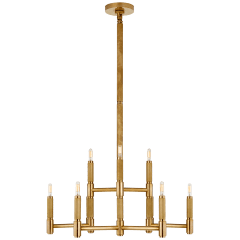 Barrett Medium Knurled Chandelier in Natural Brass