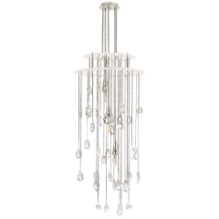 Hailee Small Sculpted Chandelier in Polished Nickel and Plaster White with Crystal