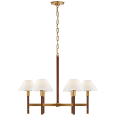 Radford Medium Chandelier in Natural Brass and Natural Rift Oak with Linen Shades
