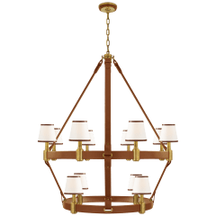 Riley Large Two Tier Chandelier in Natural Brass and Saddle Leather with Leather Trimmed Linen Shades