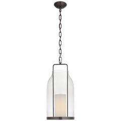 Ollie Medium Lantern in Bronze with Clear Glass