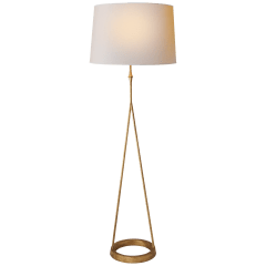 Dauphine Floor Lamp in Gilded Iron with Natural Paper Shade