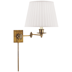 Triple Swing Arm Wall Lamp in Hand-Rubbed Antique Brass with Silk Shade