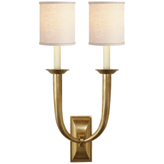 French Deco Horn Double Sconce in Hand-Rubbed Antique Brass with Linen Shades