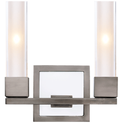 Kendal Double Sconce in Antique Nickel with Clear Glass