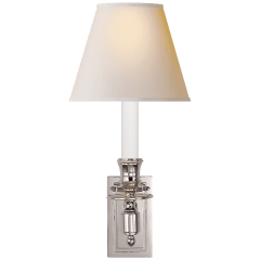 French Single Library Sconce in Polished Nickel with Natural Paper Shade