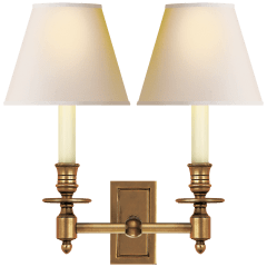 French Double Library Sconce in Hand-Rubbed Antique Brass with Natural Paper Shades