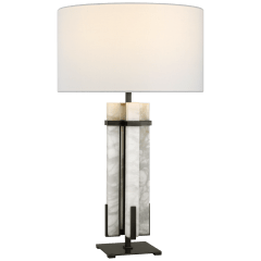 Malik Large Table Lamp in Bronze and Alabaster with Linen Shade