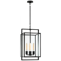 Halle Small Lantern in Aged Iron with Clear Glass