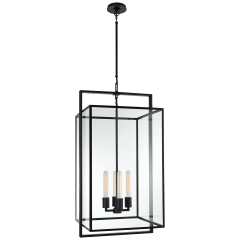 Halle Medium Lantern in Aged Iron with Clear Glass