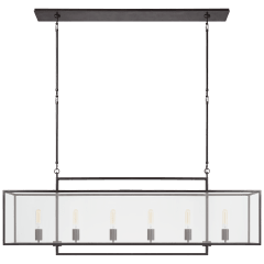 Halle Large Linear Pendant in Aged Iron with Clear Glass