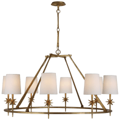 Etoile Large Chandelier in Gilded Iron with Linen Shades