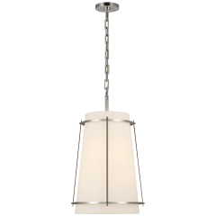 Callaway Medium Hanging Shade in Polished Nickel with Linen Shade and Frosted Acrylic Diffuser