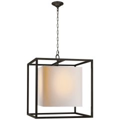Caged Medium Lantern in Bronze with Natural Paper Shade