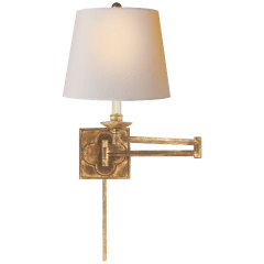 Griffith Swing Arm in Gilded Iron with Natural Paper Shade