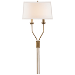 Lana Tail Sconce in Antique-Burnished Brass with Linen Shade