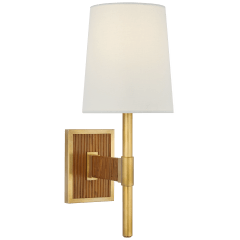 Elle Small Single Sconce in Hand-Rubbed Antique Brass and Dark Rattan with Linen Shade
