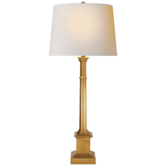 Josephine Table Lamp in Hand-Rubbed Antique Brass with Natural Paper Shade