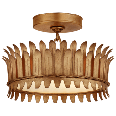 """Leslie 12"""" Semi-Flush in Gilded Iron with Frosted Glass"""
