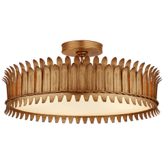 """Leslie 20"""" Semi-Flush in Gilded Iron with Frosted Glass"""