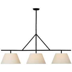 Collette Large Linear Pendant in Aged Iron with Linen Shade