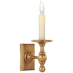 Single Library Classic Sconce in Hand-Rubbed Antique Brass