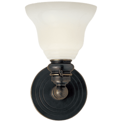 Boston Functional Single Light in Bronze with White Glass