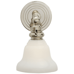Boston Functional Single Light in Polished Nickel with White Glass
