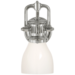 Yoke Suspended Sconce in Polished Nickel with White Glass