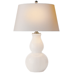 Open Bottom Gourd Table Lamp in White Glass with Natural Paper Shade