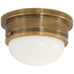 Marine Medium Flush Mount in Hand-Rubbed Antique Brass with White Glass