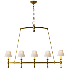 Classic Linear Chandelier in Hand-Rubbed Antique Brass with Natural Paper Shades