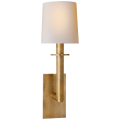 Dalston Sconce in Hand-Rubbed Antique Brass with Natural Paper Shade