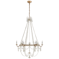Sharon Medium Chandelier in Gilded Iron with Crystal Trim