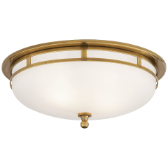 Openwork Large Flush Mount in Hand-Rubbed Antique Brass with Frosted Glass