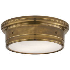 Siena Large Flush Mount in Hand-Rubbed Antique Brass with White Glass