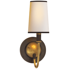 Elkins Sconce in Bronze and Hand-Rubbed Antique Brass with Natural Paper Shade with Black Tape