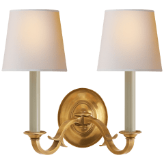Channing Double Sconce in Hand-Rubbed Antique Brass with Natural Paper Shades