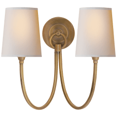 Reed Double Sconce in Hand-Rubbed Antique Brass with Natural Paper Shades